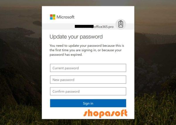 Office 365 change password - shopasoft