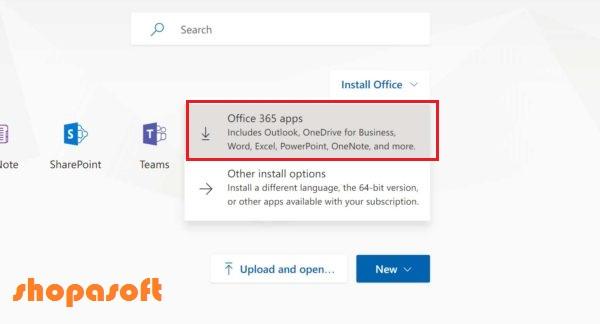 Office 365 dashboard - shopasoft